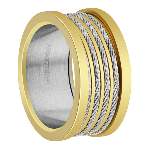 Men's Stainless Steel Two Tone 12mm Band  Size 10