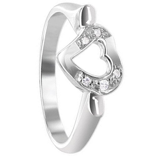 925 Silver Round CZ 8mm Wide Open Heart & Prong Set Ring
