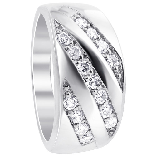 925 Silver Round Clear Cubic Zirconia 10mm Wide Designer Ring