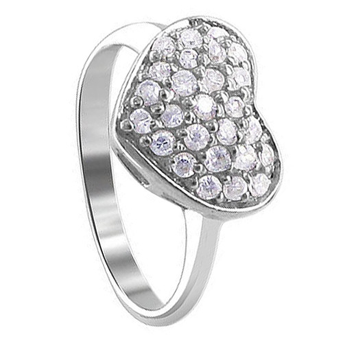 925 Silver 2mm Round Clear Cubic Zirconia Pave Setting with Heart Ring