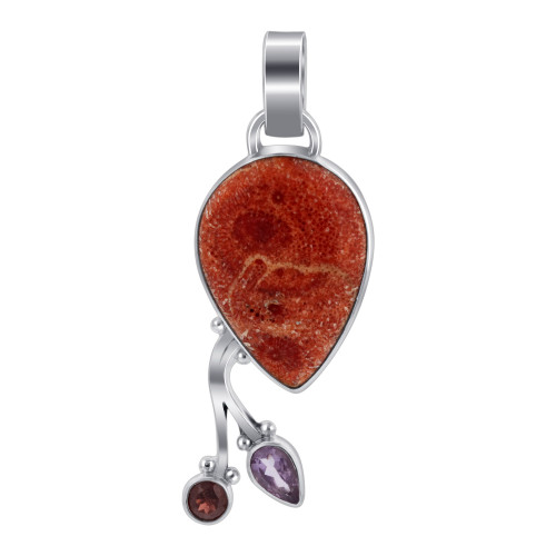 925 Sterling Silver Red Coral with Garnet and Amethyst Gemstone Pendant