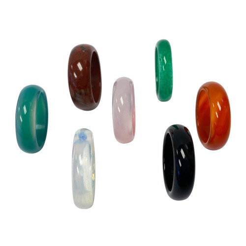 Green and Pink Agate Onyx Carnalian Opalite Unisex Band Assorted Ring Size 7 Set of 7