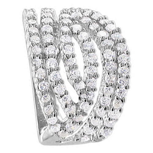 925 Sterling Silver Clear Cubic Zirconia with Prong Set Ring