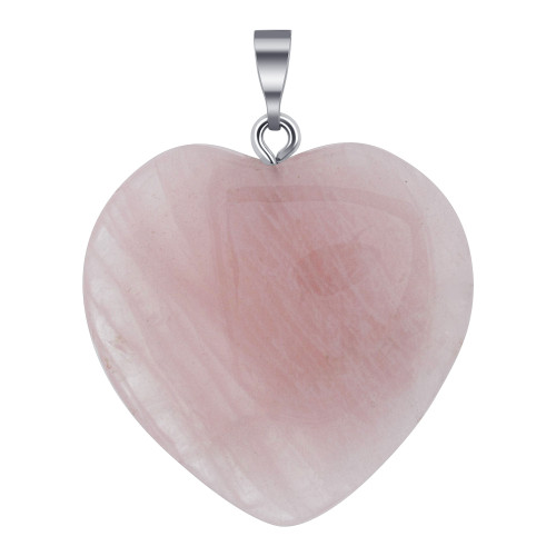 Natural Rose Quartz Gemstone Crystal Heart Pendant with Stainless Steel Bail