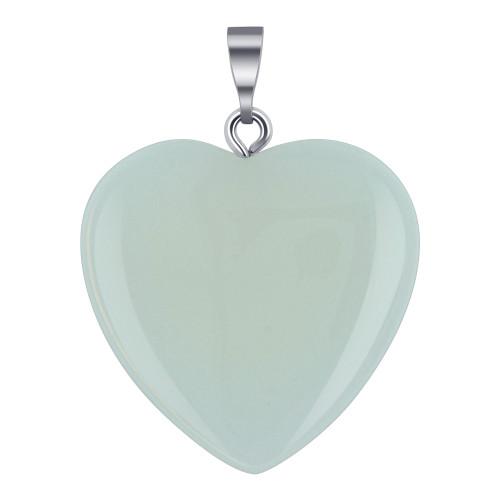 Natural Opalite Gemstone Crystal Heart Pendant with Stainless Steel Bail
