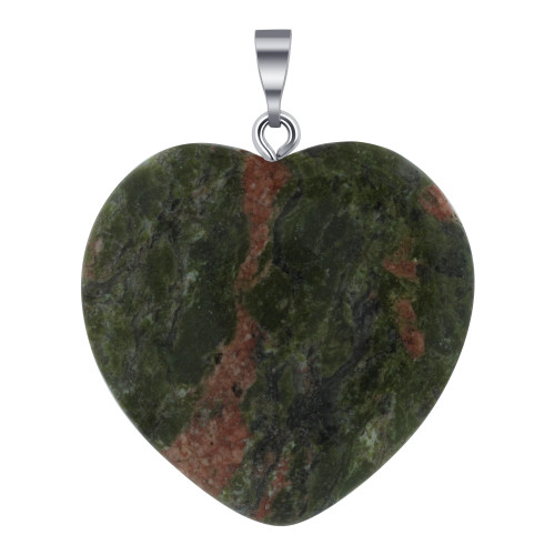 Natural Jasper Gemstone Crystal Heart Pendant with Stainless Steel Bail