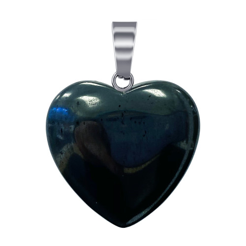 Natural Hematite Gemstone Crystal Heart Pendant with Stainless Steel Bail