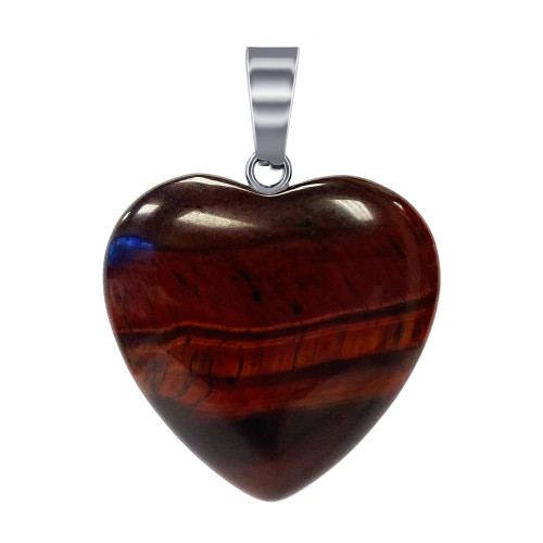 Natural Red Tiger Eye Gemstone Crystal Heart Pendant with Stainless Steel Bail