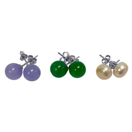 Freshwater Pearl and Dyed Green Purple Jade 8mm Ball Sterling Silver Stud Earrings Set of 3