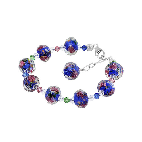 Blue Blown Glass with Swarovski Elements Multicolor Crystal 7 to 8.5 Inch Adjustable Sterling Silver  Bracelet for Women