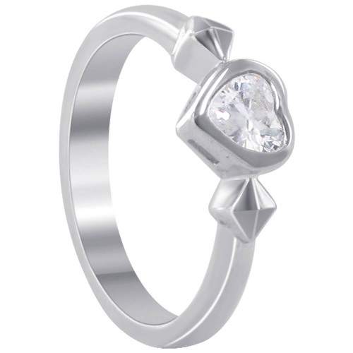 925 Sterling Silver 7mm Heart Clear Cubic Zirconia 3mm Ring