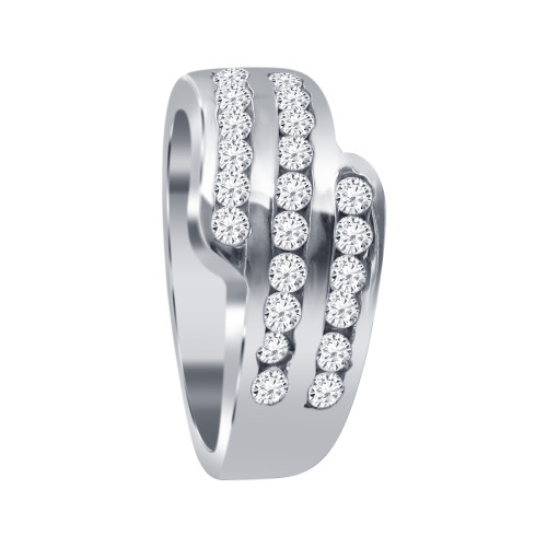 925 Sterling Silver 9mm Round Clear Cubic Zirconia 3mm Ring