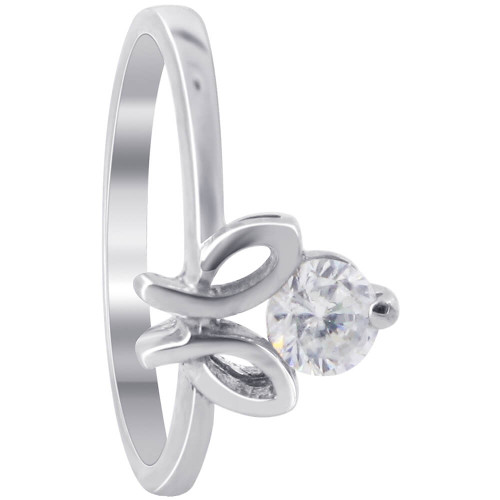 925 Sterling Silver Round Clear Cubic Zirconia 2mm Ring