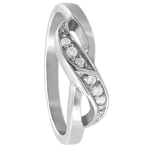 925 Sterling Silver Round Clear Cubic Zirconia Overlapping Ring