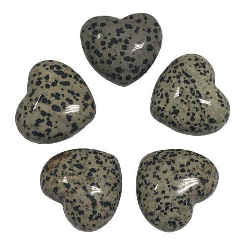 ONE Piece of Natural Dalmatian Jasper Heart Crystal Gemstone Collectible