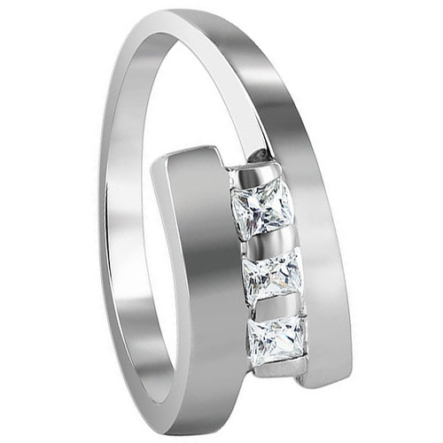 925 Sterling Silver Square Cut Clear Cubic Zirconia Ring