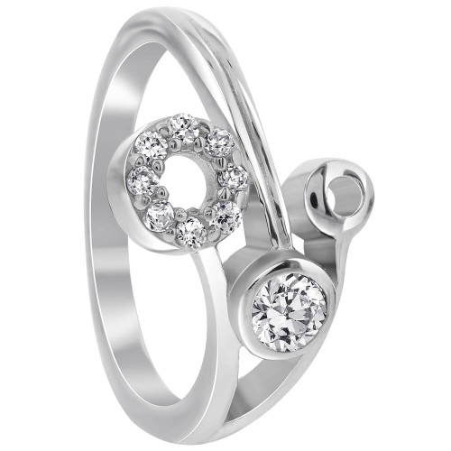 925 Sterling Silver Hollow Circle with Clear Cubic Zirconia Ring