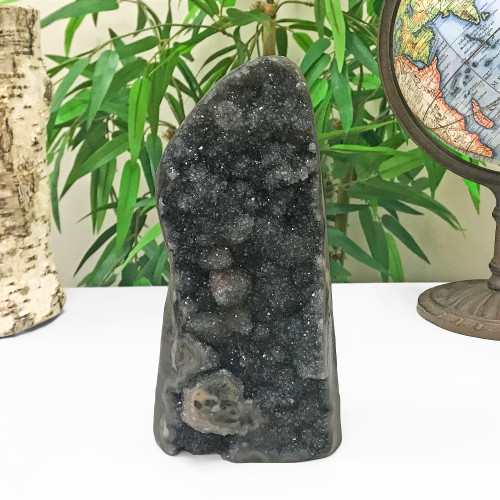Self Standing 8.2 X 4 inch Black Amethyst Crystal Church Cathedral Geode 3.8 Lb