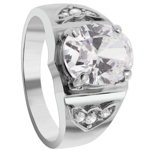 Men's Sterling Silver Oval Clear Cubic Zirconia Ring
