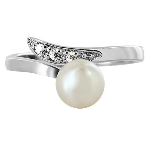 925 Silver Clear CZ & Round White Freshwater Pearl RIng