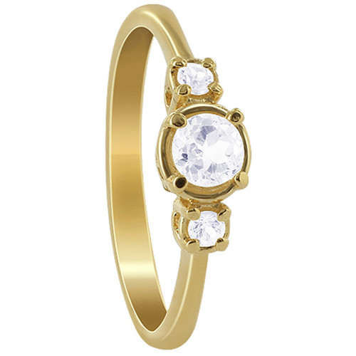 Gold over 925 Silver Round Clear Topaz Vermeil Ring