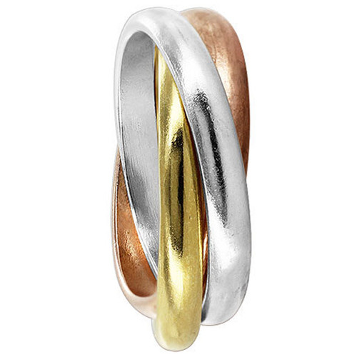 Sterling Silver Three Tone Rolling Thumb Ring