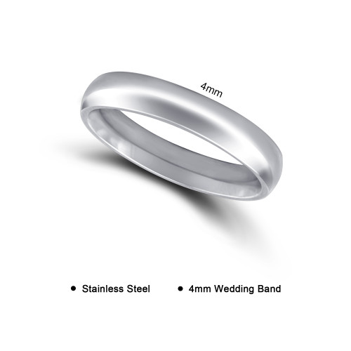 Stainless Steel Plain Comfort Fit 4mm Wedding Band