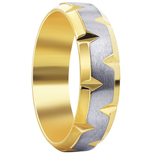 Stainless steel Gold IP Plated indented Satin finish Band