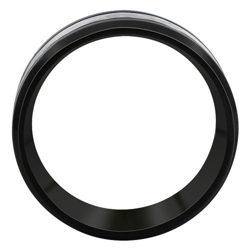 Men's Stainless Steel Black IP plated multi faceted 8mm Band