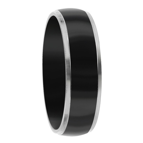 Stainless Steel Two Tone Black IP Plated 6mm Band