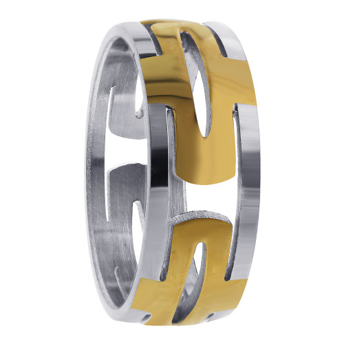 Stainless Steel 2 Tone IP Plated Hollow Encircle Ring