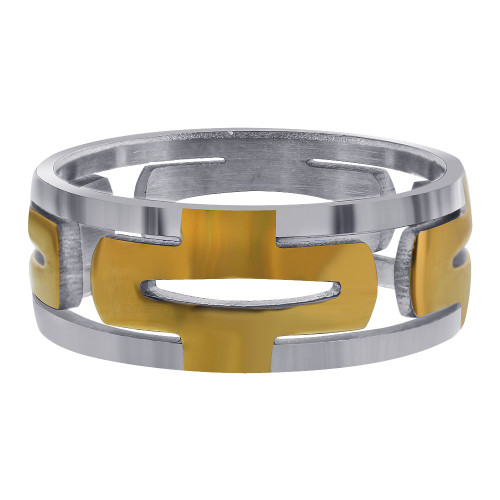 Stainless Steel 2 Tone IP Plated Hollow Encircle 8mm Ring
