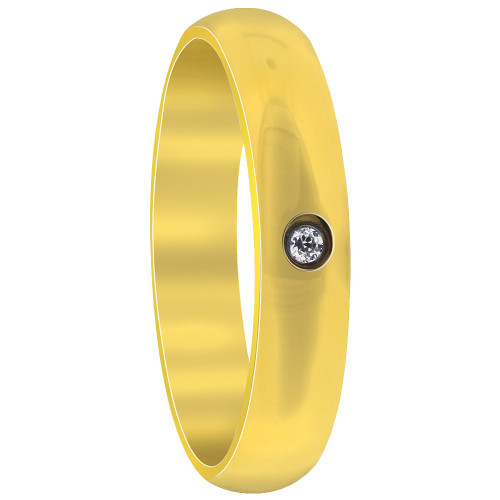 Gold IP Plated Stainless Steel Single CZ Comfort fit 4mm Wedding Band