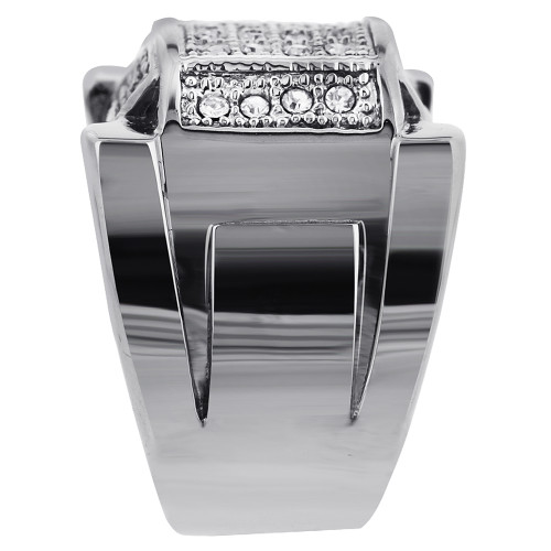 Stainless Steel Micro Pave Set Clear Cubic Zirconia 9mm Ring