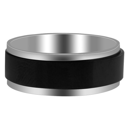 Stainless Steel 2 Tone with Black IP Plated 8mm Band