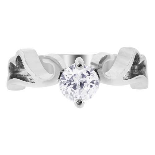 Stainless Steel Heart Swirl Design with CZ Ring