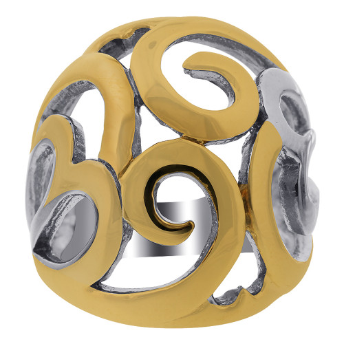 Stainless Steel 2 Tone IP Plated Swirl Pattern Ring