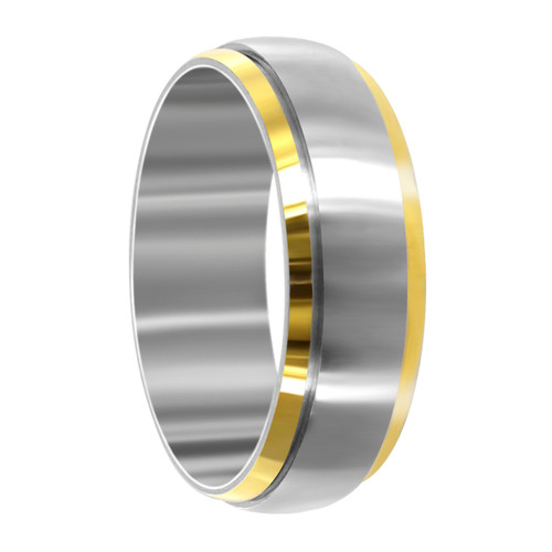 Stainless Steel Two Tone 8mm Spinning Band #LWSSR007