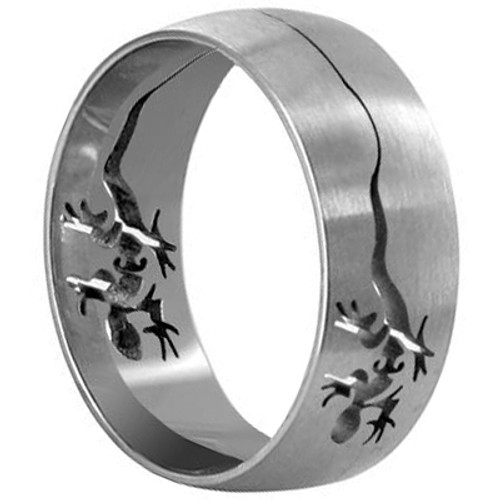 Stainless Steel Lizard Cut-Outs 8mm Band #LWSSR020