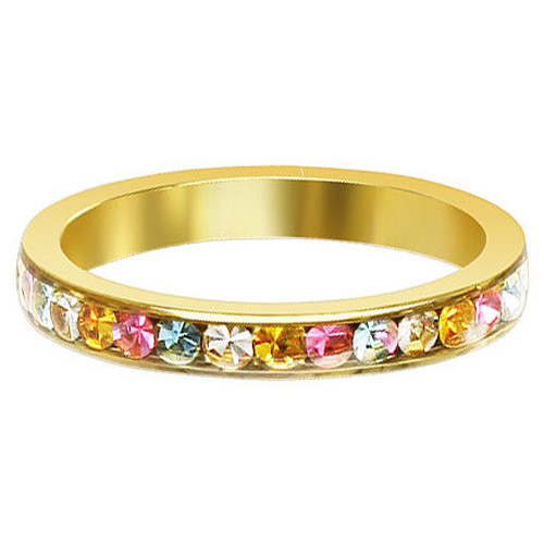Gold Tone Stainless Steel Multi CZ 3mm Eternity Band