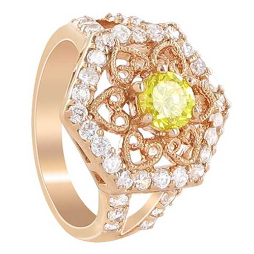 Rose Gold Layered Yellow Cubic Zirconia Hexagon Ring