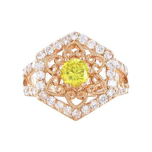 Rose Gold Layered Citrine Cubic Zirconia Floral Design Hexagon Ring