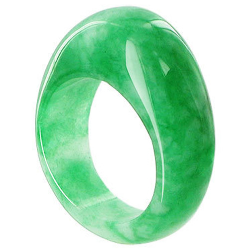 Green Nephrite Gemstone 12mm Top and 8mm Bottom Ring