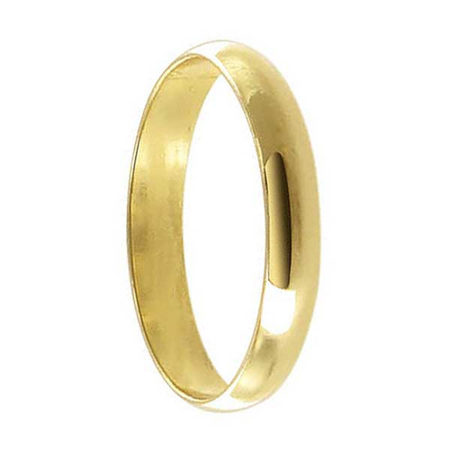 18k Gold Layered 3mm Wide Wedding Band #HORG009