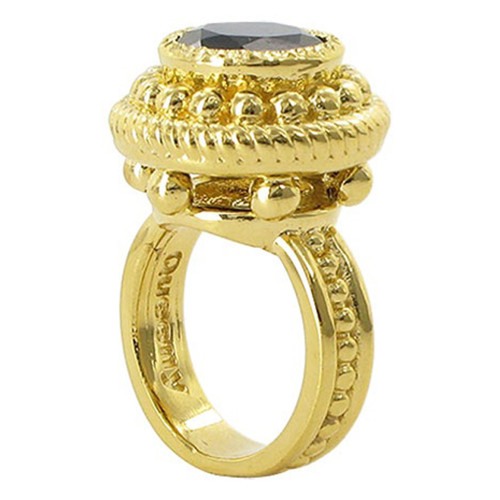 18k Gold over 925 Silver 12mm Onyx Vermeil Ring