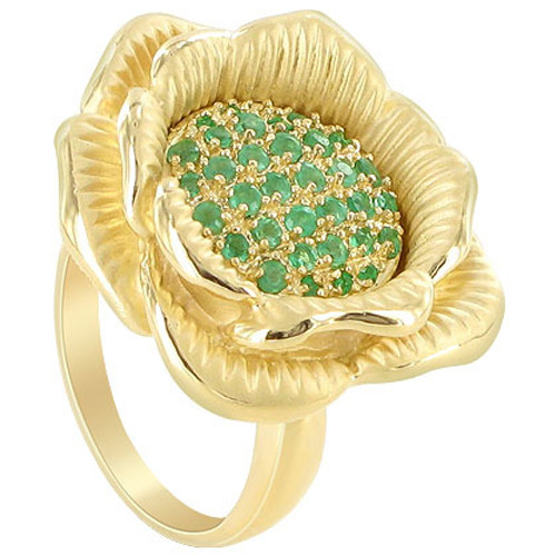 Gold over Silver May Emerald Vermeil Flower Ring