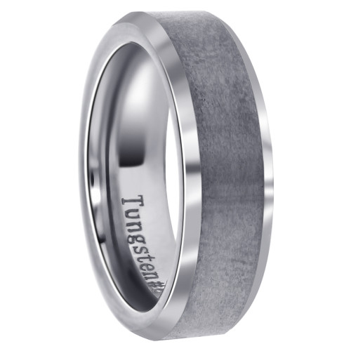 Mens Comfort-Fit Gray Tungsten 6mm Band