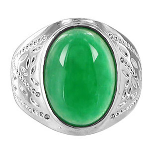 Men's Silver Plated on Copper Oval Green Gemstone Ring