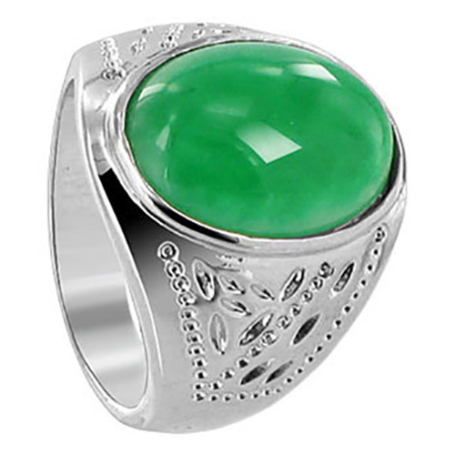 Men's Silver Plated on Copper Oval Green Nephrite Gemstone Ring