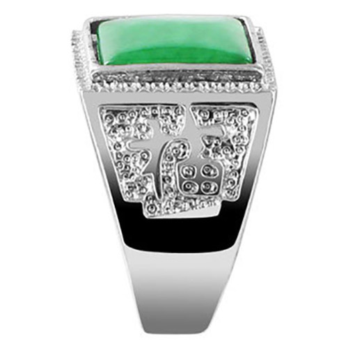 Men's Silver Plated Green Gemstone Square Shape Ring